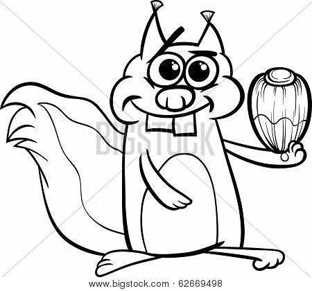 Squirrel With Nut Coloring Page