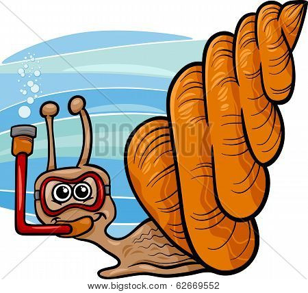 Sea Snail Cartoon Illustration
