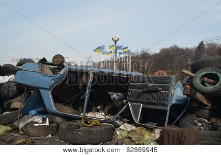 KIEV, UKRAINE -MAR 24, 2014: Downtown of Kiev.Barricades.Riot in Kiev and Western Ukraine.March 24, 2014 Kiev, Ukraine
