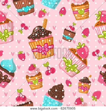Muffin seamless pattern. Cupcake background. Hand drawn vector illustration. Food image.