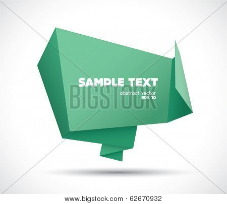 Origami speech bubble paper banner vector background