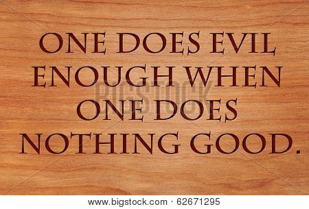 One does evil enough when one does nothing good - German Proverb on wooden red oak background