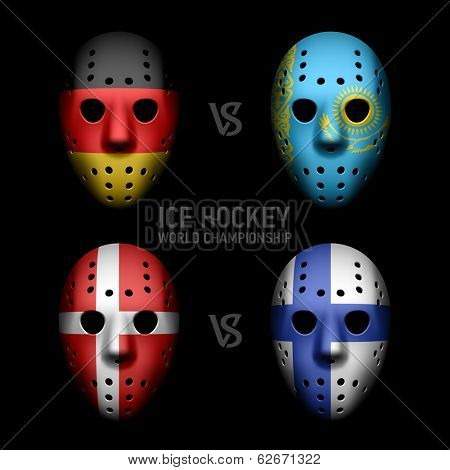 Goalie masks with flags. Vector.