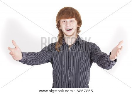 Happy Man With Open Hands