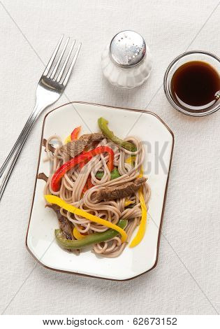 Buckwheat Noodles With Meat And Vegetables