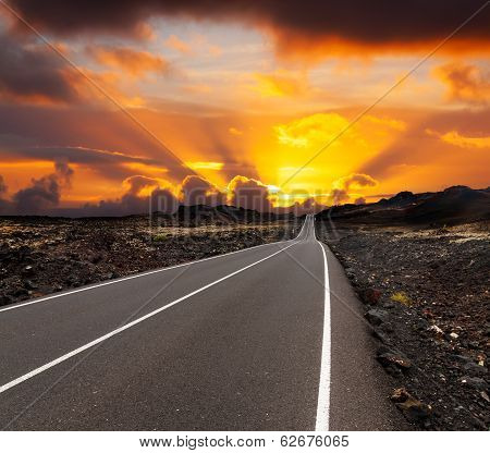 sunset over road