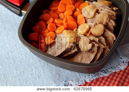 Austrian National Food : Tafelspitz, Boiled Prime Beef in broth, buttered potato and Sliced Carrot
