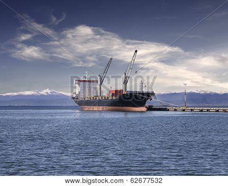 Ship In The Harbor Of Ushuaia, Argentina.