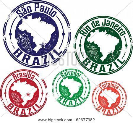 S�£o Paulo, Rio de Janeiro and Brazil City Stamps