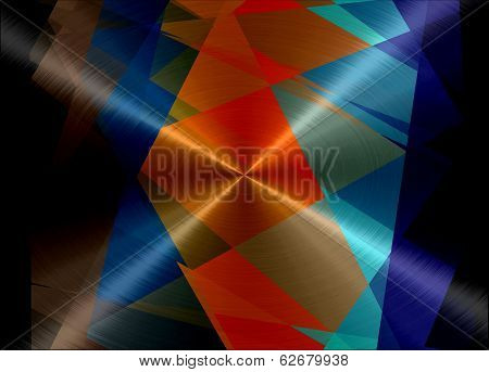 Retro Geometric Metallic Stainless Steel Metal Background
