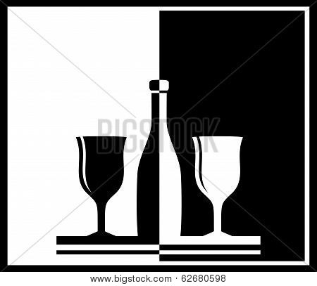 black And White Background With Bottle And Wine Glass