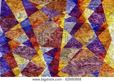 Retro colored mosaic cubism grunge texture