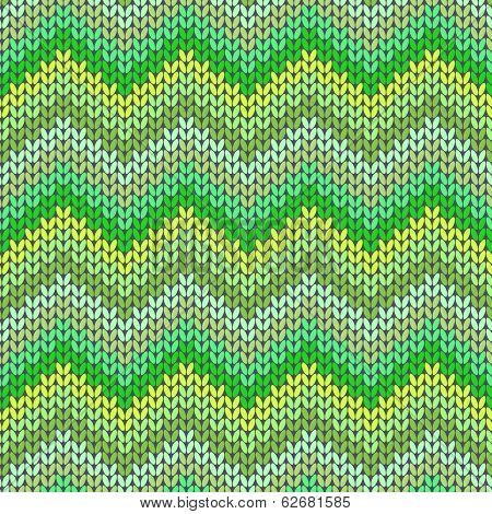 Knitted Geometric Pattern In Green And Yellow