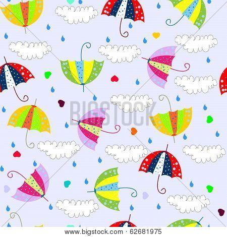 seamless background with drops raining umbrellas
