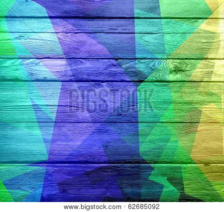 geometric colored on wood background