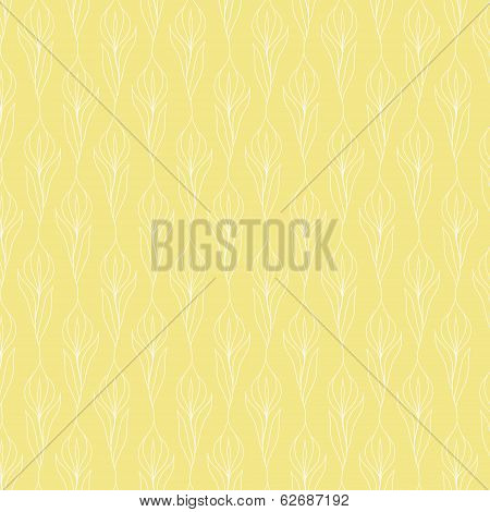 White Flower Pattern On Placid Yellow Background