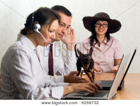 Office Workers With Laptops And A Dog