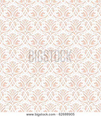 White Lace Seamless Pattern On Pink Background
