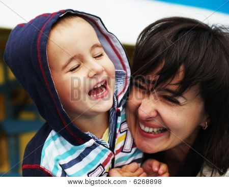 Laughing Woman And Boy