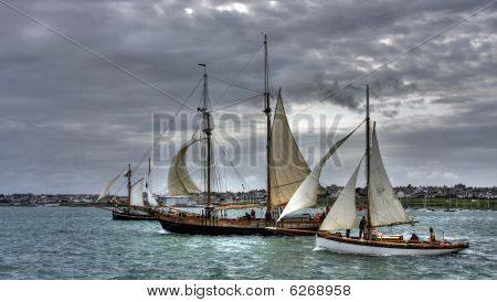Old Ships At Holyhead Harbour