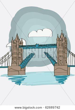 Tower Bridge of London - vector illustration for magazine or newspaper