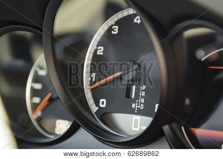 Engine Tachometer In Sports Car