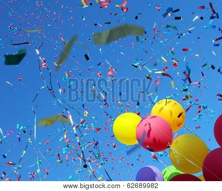 Multicolored Balloons And Confetti On Blue Sky