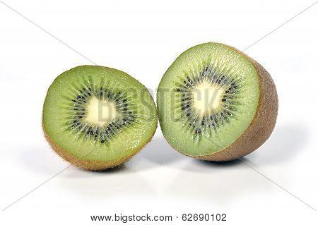 Halved Kiwi Fruit Stillife Isolated On White Background Healthy Nutrition Concept