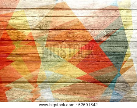 geometric mosaic colored on wood background