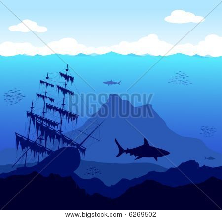 Blue Underwater World With Mountains, Fish And Ship
