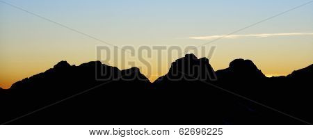 Sunset silhouette of Aspe Mountains, Canfranc Valley, Pyrenees, Huesca, Aragon, Spain