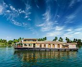 stock photo of houseboats  - Travel tourism Kerala background  - JPG