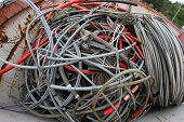 image of landfill  - skeins of copper cable in a container of a landfill of recyclable waste - JPG