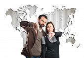 Couple With Their Thumbs Down Over Map World Background