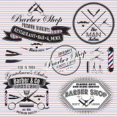 stock photo of barbershop  - set of vector icons on a theme hair salon - JPG