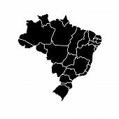 stock photo of brasilia  - Flat simple Brazil map - JPG