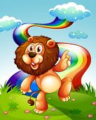 Illustration of a playful lion at the hilltop and the rainbow in the sky
