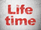 Time concept: Life Time on wall background