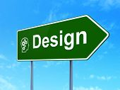 Advertising concept: Design and Head With Gears on sign