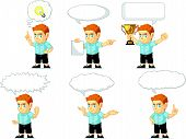 stock photo of redheaded  - A vector set of a redhead boy in several poses - JPG