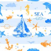 Blue and orange grunge stamp print sailboat, anchor, fishes, seagull on striped white background sea