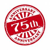 75Th Anniversary Grunge Rubber Stamp