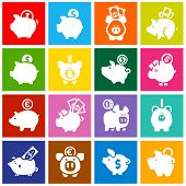 Piggy bank, set white icons on colored squares