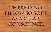 There is no pillow so soft as a clear conscience - French Proverb on wooden red oak background