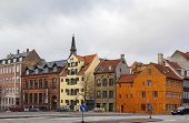 stock photo of copenhagen  - historical building on the street in the Centre of Copenhagen Denmark - JPG