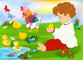 foto of animal husbandry  - Cute  child holding a baby chicken on the meadow - JPG