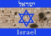 stock photo of israeli flag  - Israeli flag with the word israel in english and hebrew - JPG