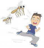 picture of gnats  - scery boy runs away from mosquitoes  - JPG
