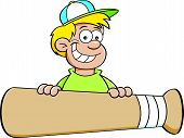 Cartoon boy with a baseball bat banner.