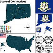 Map Of State Connecticut, Usa